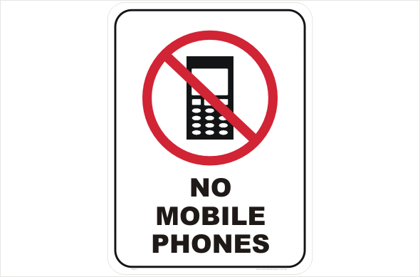 No Mobile Phones sign P2217 - National Safety Signs